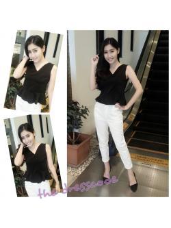กางเกงผ้ายีนส์ฟอกสีขาวเอวสูง