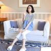 ชุด set เสื้อคลุมท้องฟ้ายีนส์ + กาเกงเลคกิ้งสีขาว