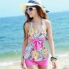 【พร้อมส่ง M】SB2019 ชุดว่ายน้ำ บิกินี่ ทูพีช pink flora สดใส
