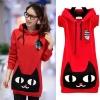 ++สินค้าพร้อมส่งค่ะ++เสื้อกันหนาวเกาหลี แขนยาว มี hood น้องแมว ผ้าสองชั้นแต่งซับในอย่างดี ดีไซด์น้องแมวตัวโต เนื้อผ้านิ่มมากๆ มี 2 สี – สีแดง
