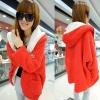 ++สินค้าพร้อมส่งค่ะ++ เสื้อ coat เกาหลี ตัวยาว แขนยาว สไตล์ cardigan มี hood แต่งกระเป๋าใหญ่สองข้าง – สีแดง