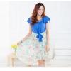++เสื้อผ้าไซส์ใหญ่++Qianlixiu* Pre-Order* ชุดเดรสเกาหลีไซส์ใหญ่คอกลมแต่งสร้อยแขนระบายผูกตรงเอวกระโปรงอัดกลีบพลีทหน้าสั้่นหลังยาวสวยจ้า