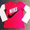 GSH-440 (4Y) เสื้อ Nike สีชมพูตัดต่อแขนสีขาว พิมพ์แบรนด์ Nike สีขาว-ดำ