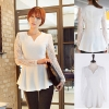 ++สินค้าพร้อมส่งค่ะ++เสื้อแฟชั่นเกาหลี คอ V แขนยาว ผ้าชีฟองตัดต่อแขนด้วยผ้าลูกไม้ยืดหยุ่นสวยเก๋ – สีขาว