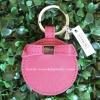 พวงกุญแจ COACH F62504 SV/SY Pink Leather Bow Mirror Key Chain Ring FOB