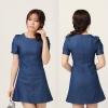 Style Pinky ++สินค้าพร้อมส่งค่ะ++ชุดเดรสเกาหลี คอกลม แขนตุ๊กตา ผ้ายีนส์เนื้อแน่น ทรงเข้ารูปซิบหลังปลายเดรสทรงเอ – สี Denim Blue (