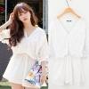 Cherry Dress ++สินค้าพร้อมส่งค่ะ++ เสื้อตัวยาวเกาหลี-เดรสสั้น คอ V ผ้าลูกไม้ แขนห้าส่วน จั้มใต้อก ชายเสื้อปล่อย – สีขาว