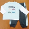ฺBS-196 (18M) ชุด Baby Boots เสื้อสีฟ้าตัดต่อสีขาว ปักลาย Cars for Sale กางเกงสีเทา ติดแถบฟ้า
