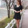 cherry dress *พร้อมส่ง* ชุดเดรสสั้นแฟชั่นเกาหลีผ้าชีฟองสีดำพิมพ์ลายจุดแต่งคอวีผูกโบว์ที่เอวมีซับในและซิปหลังค่ะ