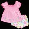 GS-533 (18M,24M) ชุด Baby Boots เสื้อสีชมพู จับสม็อคดึงยางบ่าหน้า ปักลายดอกไม้ พร้อมกางเกงลายดอกหลากสี