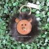 พวงกุญแจ COACH 62975 SV/MC Bear Keyfob Charm Brown Leather Black Fur Bear Head Cute