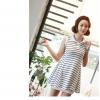 OU FANR ++สินค้าพร้อมส่งค่ะ++ ชุดเดรสเกาหลี คอปก Polo แขนกุด ผ้า Cotton ต่อจีบช่วงเอว น่ารัก - สีลายขวางขาว