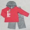 ฺBS-266 (18M,24M) ชุด Child Rep เสื้อสีแดง ผ้าเนื้อบาง ปักลาย Hot Motor และ Hood สีเทา พร้อมกางเกงผ้าลูกฟูกตัดต่อสีเทา