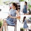 ++สินค้าพร้อมส่งค่ะ++ ชุดเดรสเกาหลี คอจีน แขนกุด ผ้ายีนส์เนื้อดีมากนิ่มสบาย แต่งกระเป๋าสองข้าง กระดุมด้านหน้า+เข็มขัดหนัง 1 เส้น – สี Blue Jean