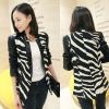 ++สินค้าพร้อมส่งค่ะ++เสื้อคลุมเกาหลี คอปก แขนยาว ดีไซด์สาวชุดหนังมอเตอร์ไซด์ แต่งกระดุมเกี่ยวด้านหน้า ผ้าลาย zebra – สีดำ