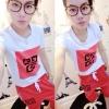 ++สินค้าพร้อมส่งค่ะ++ เสื้อคอกลม แขนสั้น สกรีนนูน Givenchy และกางเกงขายาว ผ้าดีมากค่ะ มี 2 สีค่ะ สีแดง
