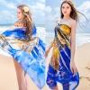 BW042 ผ้าคลุมเดินชายหาดลายกราฟฟิคสีน้ำเงิน สดสวย ผืนใหญ่【พร้อมส่ง】