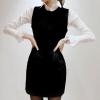 Partysu ++สินค้าพร้อมส่งค่ะ++ ชุดเดรสเกาหลี คอปก แขนยาว ผ้า Woolen เนื้อผ้าดีมากค่ะ แต่งด้วยผ้าฝ้ายช่วงไหล่และปก – สีดำ