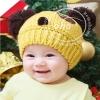 หมวกไหมพรม ลายแพนด้า สีเหลือง