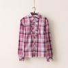 เสื้อเชิ้ตผ้าฝ้าย ลายสก๊อตสไตล์ญี่ปุ่น แต่งระบายที่สาบเสื่้อ สีม่วง size L