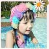 SD2100 ชุดว่ายน้ำเด็ก ทูพีช เซ็ท 3ชิ้น ชมพูลายสก็อต น่ารัก [พร้อมส่ง]