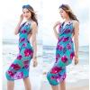 BW041 ผ้าคลุมเดินชายหาดแบบมีแขน สีฟ้าลายดอกไม้สดใส【พร้อมส่ง】