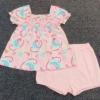 GS-832 (18M,24M) ชุด Baby Boots เสื้อสีชมพูลายดอกฟ้า-ชมพู-เขียว จับสม็อคดึงยางบ่าหน้า พร้อมกางเกงสีชมพู