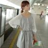 Cherry KoKo ++สินค้าพร้อมส่งค่ะ++ ชุดเดรสเกาหลี ทรงหลวม แต่งแขนเสื้อด้วยผ้าชีฟองอัดพลีท กระดุมหน้า ผูกเชือกรูดที่เอว - สีเทา