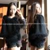 ++สินค้าพร้อมส่งค่ะ++ เสื้อคลุมไหล่เกาหลี ทำจากขนนกกระจอกเทศผสม แต่งระบายสองชั้น มี 2 สี – สีดำ
