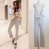 ++สินค้าพร้อมส่งค่ะ++ชุดเอี้ยมกางเกงขายาวเกาหลี คอ V ลึก เอวรูดเข้าผูกเชือกได้ค่ะ – สีเทา