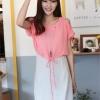 ++สินค้าพร้อมส่งค่ะ++ชุดเดรสแฟชั่นเกาหลี ชุดเดรส 2 ชั้น ชิ้นในเป็นเดรสแขนกุดตัดต่อชั้นนอกเสื้อโชว์ไหล่ รูดเอวได้ – สีชมพูอมส้ม