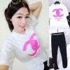 ITYF ++สินค้าพร้อมส่งค่ะ++ชุดแฟชั่นเซ็ทเกาหลี สไตล์ Sport set เสื้อคอกลม แขนสั้น สกรีน Channel+กางเกงขายาว – สีขาว