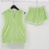 ++สินค้าพร้อมส่งค่ะ++ Sport Set ชุดเซท เสื้อ Jacket แขนกุด มี Hood + กางเกงขาสั้น - สี เขียว