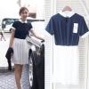 H&Y ++สินค้าพร้อมส่งค่ะ++ชุดเดรสเกาหลี คอปก แขนสั้น ผ้า cotton เนื้อดีจั้มเอวแบบยางยืดกระโปรงพลีทรอบตัวน่ารัก – สีน้ำเงิน