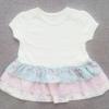 GD-268 (3-6M) ชุดกระโปรง Mini Skirt สีครีม ตัดต่อผ้าทอลายดอก และลายทางสีเขียว-ชมพู-ครีม สไตล์วินทเทจ 3 ชั้น