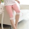 เลคกิ้งคนท้องขาสั้นสีชมพู แต่งลูกไม้สีขาว