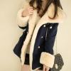 +สินค้าพร้อมส่งค่ะ++เสื้อ coat เกาหลี คอปก แขนยาว ผ้า woolen ด้านนอกด้านในเป็น cashmere เอวรูดแต่งเก๋กระเป๋าหน้า – สีDark Blue
