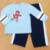 ฺBS-197 (12M) ชุด Sears Baby เสื้อสีฟ้า ตัดต่อสีขาว-กรมท่า ปักลายหมีถือฟุตบอล กางเกงสีกรมท่า ติดแถบฟ้า-ขาว