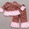 GS-809 (3-6M,12M) ชุด Specialty Baby สีน้ำตาลลายดอก ระบายปลายแขน-ชายเสื้อ-ปลายขากางเกง 2 ชั้น