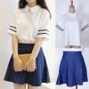 ++สินค้าพร้อมส่งค่ะ++ชุดเซ็ทเกาหลี สไตล์ชุด uniform กลาสี เสื้อคอปก แขนสั้น ผ้าชีฟอง+กระโปรงยีนส์เนื้อดีค่ะ – สีขาว