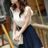 ++เสื้อผ้าไซส์ใหญ่++ Qiaoyi *Pre-Order *ชุดเดรสเกาหลีไซส์ใหญ่ผ้าชีฟองแขนตุ๊กตาติดยางยืดตัดต่อกระโปรงพีทสีดำปลายกระโปรงต่อผ้าชีฟองสีชมพู