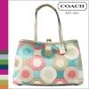 กระเป๋า Coach F19216 Multicolor Sateen Snaphead Kisslock Carryall Handbag