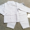SLW-011 (2Y,3Y,4Y,5Y) ชุดนอนผ้าทอ Mini Bear สีเทาอมฟ้า ลายจุด กุ๊นริมขาว ปักแบรนด์ Mini Bear