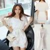 Cherry Dress ++สินค้าพร้อมส่งค่++ ชุดเดรสเกาหลี คอกลม แขนเลย ผ้า cotton blend เนื้อดีปักลาย ช่วงเอวมีสายผูก น่ารักมากค่ะ – สีขาว