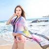 BW001 ผ้าคลุมเดินชายหาด ลายดอกชบาชมพู【พร้อมส่ง】