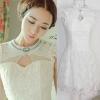 ViVi Party ++สินค้าพร้อมส่งค่ะ++ ชุดเดรสเกาหลี เจ้าหญิงแสนหวาน แขนเต่อ แต่งลูกปัดเพชรรอบคอ ผ้าลูกไม้ กระโปรงพองบาน ซิบหลัง – สีขาว
