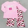 GS-753 (3Y) ชุด Mini Boots เสื้อผ้ากำมะหยี่สีชมพู ปักลายแมว 3 ตัว และกางเกงลายหัวใจสีชมพู-น้ำตาล