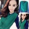 WMGD ++สินค้าพร้อมส่งค่ะ++เสื้อ jacket เกาหลี แขนยาว สไตล์เสื้อเบสบอลสีพื้น กระดุมแปปด้านหน้า มี 2 สีเก๋มากค่ะ – สีเขียว