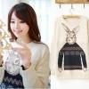 ++สินค้าพร้อมส่งค่ะ++เสื้อสเวตเตอร์เกาหลี คอกลม แขนยาว ทอลายน้องกระต่ายด้านหน้า – สี Beige