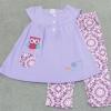 GS-750 (4Y) ชุด N&N Kids เสื้อสีม่วง ตัดต่อบ่าหน้า-หลัง ปักลายนกฮูกและดอกไม้ และกาเกงลายดอกสีชมพูอมม่วง